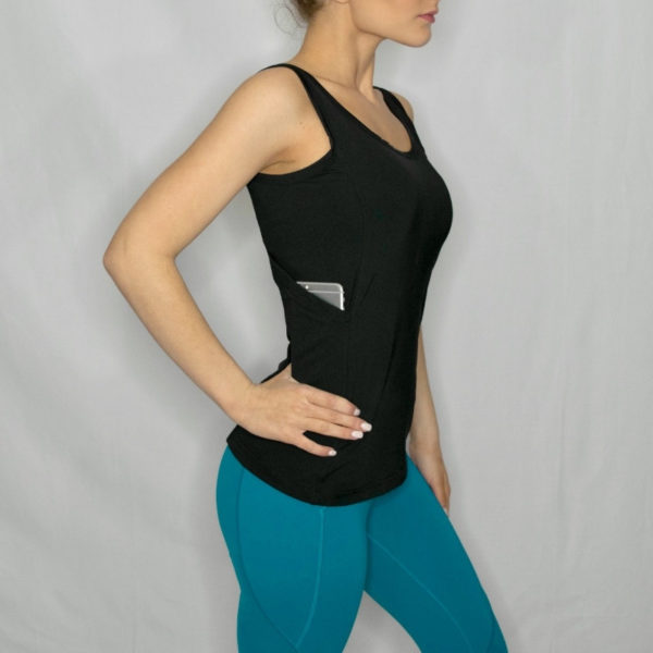 Women's Black Tank top with hidden pockets